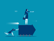 Employees push forward arrow and boss standing at on arrow. Conc Royalty Free Stock Image
