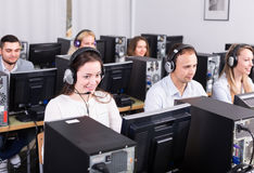 Employees receiving calls royalty free stock photo