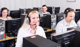 Employees receiving calls stock photography