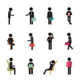 Employees. Set of black employees, in different position at work. Vector and isolated Stock Image