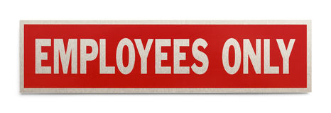 Employees Only Sign. Red Rectangle Employees Only Sign Isolated on a White Background Stock Images