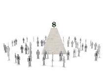 Employees silhouettes under a piramid. With dollar sign on top Royalty Free Stock Image