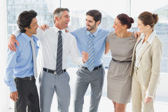 Employees smiling and having fun Stock Photo