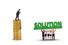 Employees with solution for their leader Royalty Free Stock Photo