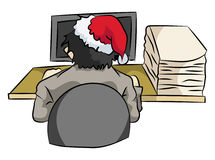 Employees still work at Christmas. Illustration employees still working for the Christmas holiday to reach deadlines Royalty Free Stock Image