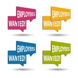 Employees Wanted - Colorful Vector Speech Bubbles - Isolated On White. Background Royalty Free Stock Photography