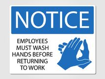 Employees wash hands sign on a grey background. Employees wash hands sign  illustration Stock Photography