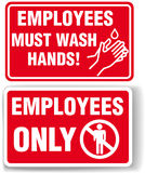 EMPLOYEES ONLY and WASH HANDS signs. Employees only and Employees Must Wash Hands signs with drop shadow or white border stock illustration