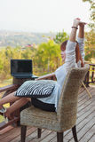 Employees work during rest and relaxation Royalty Free Stock Photos