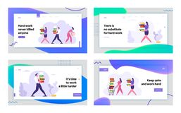 Employees at Work, Website Landing Page Set, Business Man and Woman Carry Big Heap of Documents. Fired Sad Businesswoman. With Box Leaving Office, Web Page vector illustration