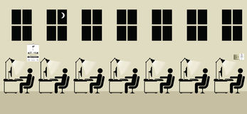 Employees working. A late shift at the office Vector Illustration