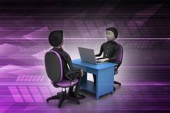 Employer and applicant, job hiring concept Stock Photo