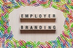 Employer branding words concept. On cubes royalty free stock photography
