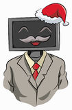 Employer celebration christmas. Illustration employer computer head, smile and wear a santa claus hat and tuxedo for celebration christmas Stock Images