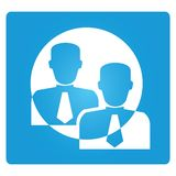 Employer. Employee symbol in blue button Royalty Free Stock Photos