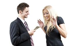 The employer gives money Stock Photography