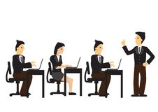 A employer giving instructions to his group of employees. Concept of leadership, professional organisation or productivity. Management. Isolated vector stock illustration