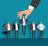 Employer hand choosing man from selected group of people. Recruitment vector business concept. Human recruitment, select and choice illustration Stock Photography