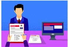 Employer interviewing and evaluating a young candidate with copy space.Vector illustration Stock Photos
