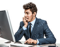 Employer looking at computer screen with horror Royalty Free Stock Images
