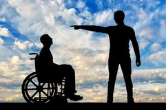Employer refuses the disabled person in a wheelchair to employ him for work. The concept of discrimination and inequality for people with disabilities royalty free stock photos