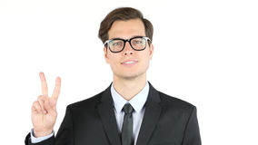 Employer satisfied with his profit, income, earnings, Victory Sign Royalty Free Stock Photography