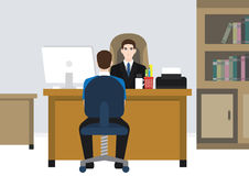 Employer/szef opowiada z jego pracownikiem Obrazy Royalty Free