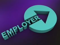 Employer. Text 'Employer' illustrated in 3D uppercase green letters forming the shaft of an arrow the head of which is cut out of a solid green cylinder, purple stock illustration