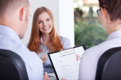 Employers making an interview Stock Images