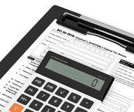 Employers quarterly federal tax return form and calculator. 3d rendering of individual employers quarterly federal tax return form and calculator over white Stock Photos
