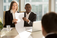 Employers recruiters shocked by great career achievements of job Stock Images