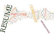 Employers View Of Your Resume Text Background  Word Cloud Concept Stock Photo