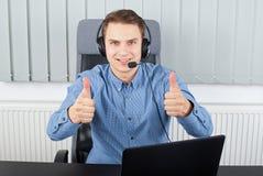 Employeur ayant une conférence de skype images libres de droits
