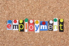Employment. The word Employment in cut out magazine letters pinned to a cork notice board royalty free stock photography