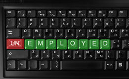 Employment. Changing unemployed to employed.Recruitment or Employment Issues Royalty Free Stock Image
