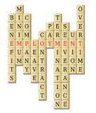 Employment. In a crossword puzzle abstract isolated in white background Royalty Free Stock Photos