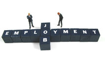 Employment. Employee and boss behind the words employment and job stock image