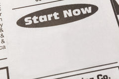 Employment ad. Newspaper employment ad,  start now, Employment concept Royalty Free Stock Photos