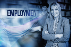 Employment against professor looking at camera with arms folded Royalty Free Stock Photography