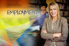 Employment against professor looking at camera with arms folded. The word employment against professor looking at camera with arms folded Stock Photos