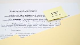 Employment Agreement Approved By Legal Royalty Free Stock Image