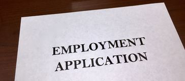 Employment Application. An application for employment in a business, warehouse, industry or manufacturing plant Royalty Free Stock Photography