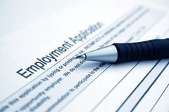 Employment application. Close up of Employment application Royalty Free Stock Photos