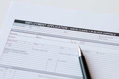 Employment Application Form. On white stock photo