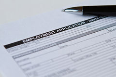 Employment Application Form. On white stock photography