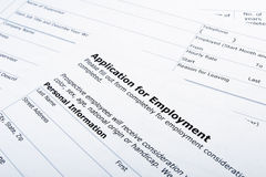 Employment application job Stock Image