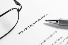 Employment application job Stock Photos