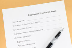 Employment application paper form. Close - up Blank employment application paper form Stock Images