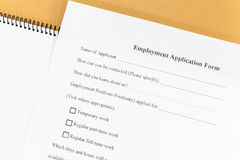 Employment application paper form. Close - up Blank employment application paper form Royalty Free Stock Image