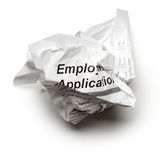 Employment Application on White. Crumpled Employment Application on White Royalty Free Stock Photo